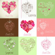 Greeting cards with heart - Stock Photo