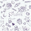 Stock Photo: Love Seamless Doodles