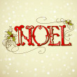 Vintage Christmas Card. NOEL lettering - Stock Photo