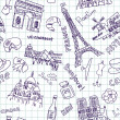 Stock Photo: Sightseeing in paris doodles