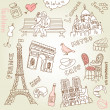 Stock Photo: Love in paris doodles