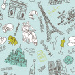 Sightseeing in paris doodles - Stock Photo