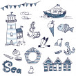 Sea doodles - Stock Photo
