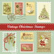 Vintage Christmas postage set — Stock Photo