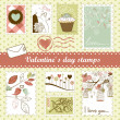 Set of valentines day stamps - Stock Photo