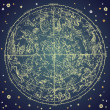 Vintage zodiac constellation of northen stars. - 图库照片