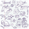 Hand drawn travel doodles. — Stock Photo