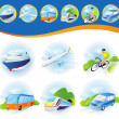 Travel transportation icon set. — Stockfoto