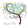 Stylized love tree made of hearts with two birds - Stok fotoğraf
