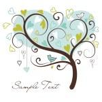 arbre stylisé amour fait des coeurs avec deux oiseaux — Photo