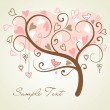 Stylized love tree made of hearts with two birds — Stock Photo #7561407