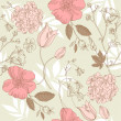 Seamless vintage flower pattern, floral vector - Stock Photo