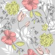 Stock Photo: Seamless vintage flower pattern, floral vector