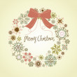 Vintage Christmas wreath made from snowflakes - Stock Photo