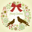 Vintage Christmas wreath and two birds — Stock Photo