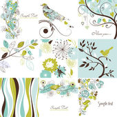 Set of cute floral greeting cards — 图库照片