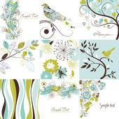Uppsättning av söt blommig gratulationskort — Stockfoto