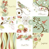 Set of cute floral greeting cards — Stock Photo