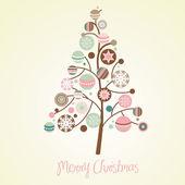 Ilustracja piękną choinkę. kartka świąteczna — Zdjęcie stockowe