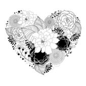 Black heart with floral ornament — Stock Photo