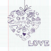 Valentine heart greeting card. Vector — Stock Photo