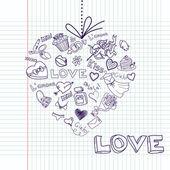 Valentine srdce přání. vektor — Stock fotografie
