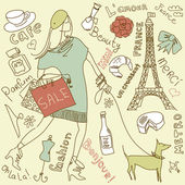 Shopping in Paris doodles — Stock Photo