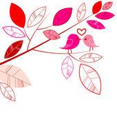 Valentines card with bird couple — Stock Photo