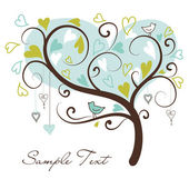 Stylized love tree made of hearts with two birds — Stockfoto