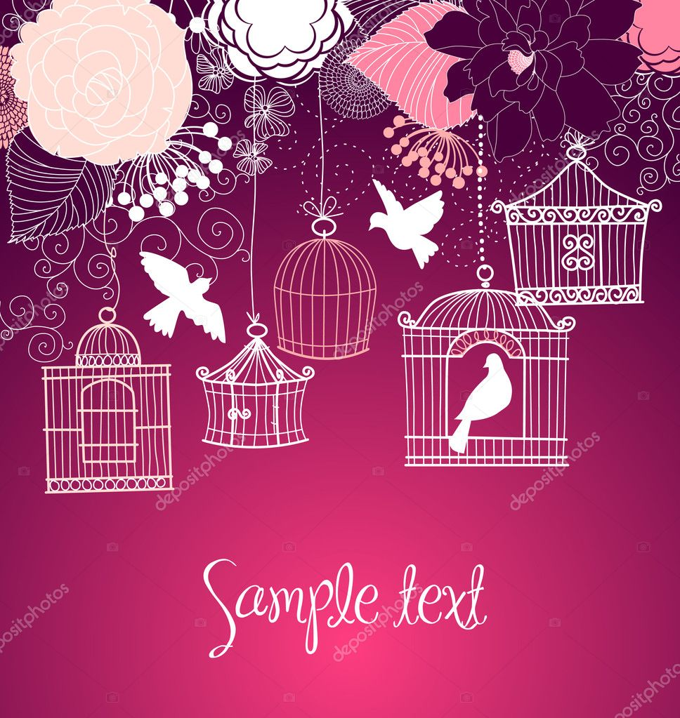 Floral summer background. Birds out of their cages concept vector — Stock Photo #7560158