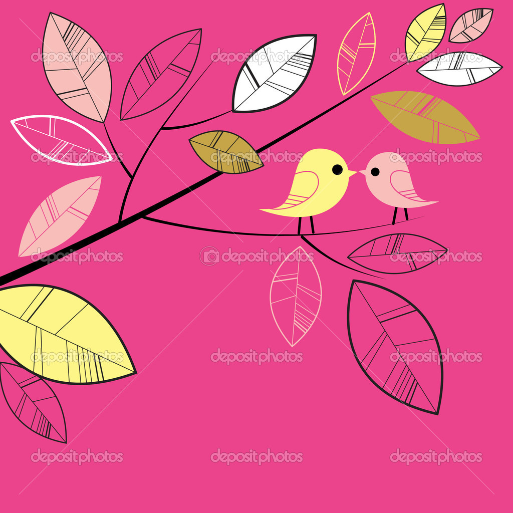 Birds kissing on a branch — Stock Photo #7560812