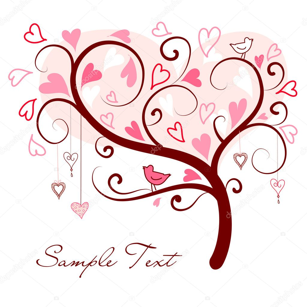 Stylized love tree made of hearts with two birds — Stock Photo #7561401