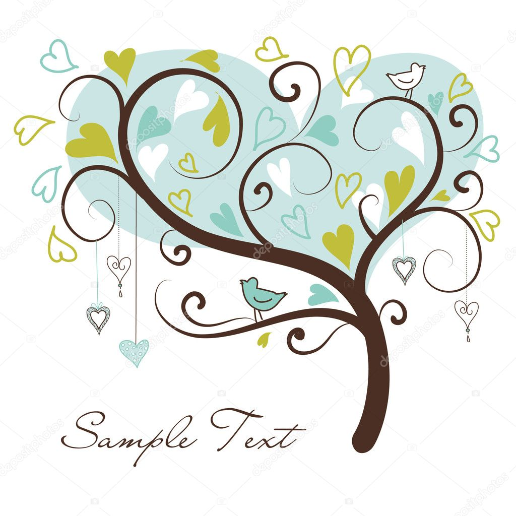 Stylized love tree made of hearts with two birds — Stock Photo #7561405
