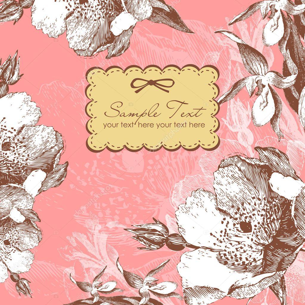Vintage Flower Seamless Pattern Background Stock Vector 24108127