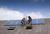 Installing solar panels — Stock Photo