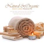 Organic bath, spa, sauna and body care products — Stock Photo