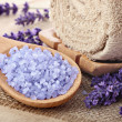 Lavender sea salt, natural organic spa arrangement — Stock Photo