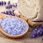 Lavender sea salt, natural organic spa arrangement — Stock Photo