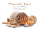 Organic bath, spa, sauna and body care products — Stock Photo