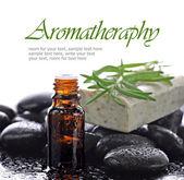 Aromatherapy, natural essential oil border — Stock Photo