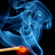 Matchstick bursting to flame — Stock Photo