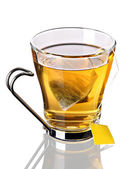 Cup of tea with pyramid teabag (clipping path included) — Stock Photo