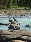 Inukshuk at Athabasca Falls — Foto Stock