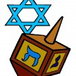 3D Traditional jewish hannukah sevivon and star of David - Stock Photo