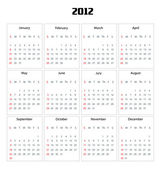 Calendar for 2012 year — Foto Stock