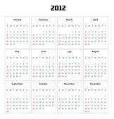 Kalender für das jahr 2012 — Stockfoto