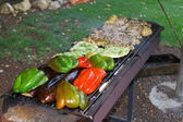Meat, bacon, vegetables and some pitos on the grill — Stock Photo