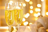 Two Glasses of Champagne Set on a Christmas Table — Stock Photo