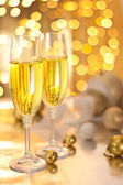 Glasses of Champagne on Christmas Eve — Stock Photo