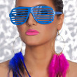 Stock Photo: Trash Girl Pink blue streak glasses